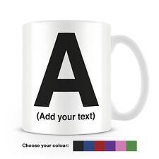 Helvetica lettera una tazza di caffè-può essere personalizzata-aggiungi il tuo nome - 6 COLORI