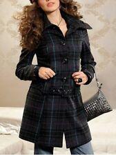 Melrose Mantel Gr.36,38,40 NEU Damen Jacke mit Gürtel Wolle Schwarz kariert L32