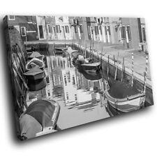 ITALY VENICE RIVER GONDOLA 3D Window View Canvas Wall Art Picture W627 MATAGA .