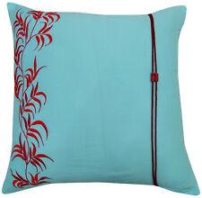Housse de coussin vert mer coton design décoration jeter taie feuille