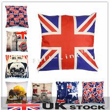 Vintage Style Cotton Linen Decor Cushion Cover Pillow Case 45x45cm UK Seller