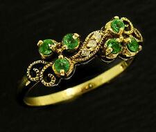 R283 Genuine 9K, 10K, 14K or 18K Solid Gold Natural Emerald & Diamond Ring