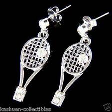 w Swarovski Crystal Tennis Ball Racket Racquet racquetball Charm Sports Earrings