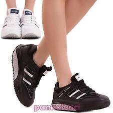 Scarpe donna sportive SNEAKERS lacci suola tonda dimagranti fitness nuove 8615