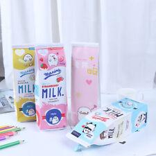 Cartoon milk bottle school pencil case cute pu pen bag storage pouch stationerTC