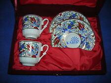 Kutahya KADIM porselen 4-pc. demitasse cup/saucer set, burgundy box - Turkey