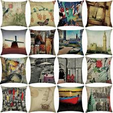 "18""  scenery Pattern Cotton Linen Cushion Cover Pillow case Home Decor"