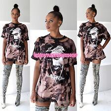 New  American Rock Women Ladies Holes T-Shirt Casual Mini Short Sleeve  Dress