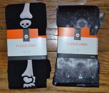 Fleece Lined TIghts Skeleton or Black & White Smoke Sizes 4-6 or 7-10 or 12-14