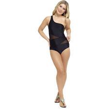Ladies Black One Shoulder Mesh Swim Suit Swimming Costume