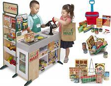 Kids Supermarket Store Food Pretend Play Set Cash Shopping Trolley Toys Market