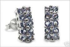 """Rhodium / Sterling Silver Genuine Tanzanite Earrings 1/2""""  TE12"""