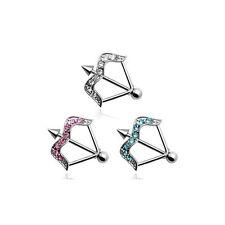 Nipple Ring Arrow shaped shield clear pink aqua14g 18mm bar length