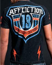Affliction American Customs ACMC SHIELD Men's Henley NEW A4469 - Black Lava