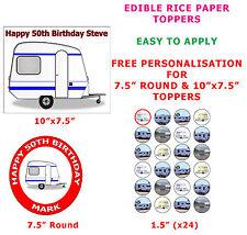 Personalised Caravan Camper Birthday Cake/Cupcake Toppers On Rice Paper