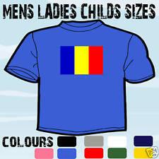 ROMANIA FLAG EMBLEM T-SHIRT ALL SIZES & COLOURS
