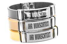 ID Leder Armband Edelstahlplatte GRAVUR TEXT NAME Wunschgravur Wunschtext Unisex