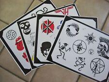 Tattoo Flash Set of 4 Sheets Band Logos Dead Kennedys Crass Cuz'n Bill Lorenz