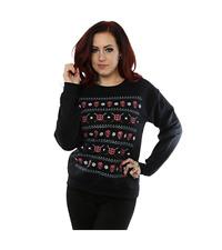 Ladies Black Deadpool Christmas Jumper Sweatshirt Official Marvel Girls Womens