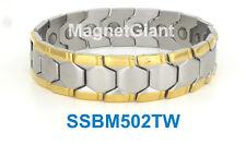 *** Wide *** Magnetic Silver & Gold Mens stainless steel link bracelet SSBM502TW