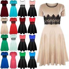 New Womens Skater Dress Ladies Midi Dress Short Sleeve Waist Lace Flared Franki