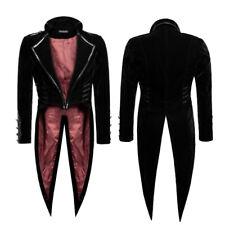 Punk Rave Military Swallowtail Jacket Black Velvet Gothic Frock Coat Y-737