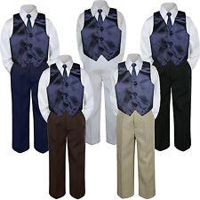 4pc Boy Suit Set Navy Blue Necktie Vest Baby Toddler Kid Formal Pants S-7