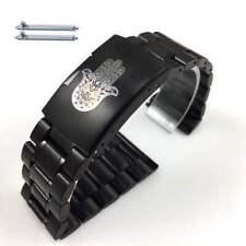 Black Steel Metal Bracelet Watch Band Strap Hamsa Hand Symbol  #5016-104