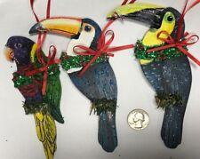 Bird Christmas Ornament Swainson's Toco Toucan Rainbow Lory Lorikeet Parrot