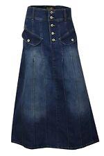 Clove Long A Line Panel Stone Wash Blue Denim Full Length Maxi Skirt 12-24