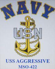 USS AGGRESSIVE  MSO-422* MINESWEEPER * U.S NAVY W/ ANCHOR* SHIRT