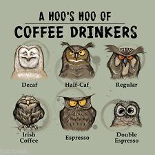 Owl  T shirt S M L XL 2XL  Coffee Addict Espresso Decaf Unisex NWT Cotton Green
