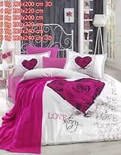 Bettwäsche Bettgarnitur Bettbezug 100% Baumwolle Kissen Decke 3D LOVESTORY