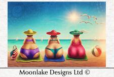 Fashion Beach Ladies,  Fabric 60x40cm / Fabric / Craft Panel / Several Designs