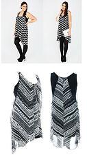 Sexy Nuevo sin mangas blanco y Negro Vestido Estampado Elástico Detalles