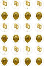24 X Precortada oro 80TH Cumpleaños/80 años de edad Arroz Oblea Papel Cup Cake Toppers/