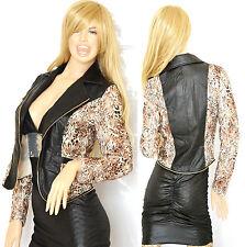 GIUBBINO donna NERO MARRONE leopardato maculato giacca giacchino zip oro G05