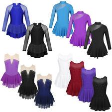 Girls Ice Skating Rhinestone Dress Long Sleeve Leotard Gym Ballet Tutu Dancewear