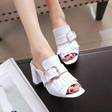Womens Patent Leather Open Toe Pumps Block Heels Sandals Slippers Shoes Plus SZ