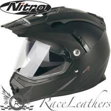 NITRO MX660 Negro Satinado Doble Deporte Bicicleta Casco Moto Motocicleta De Aventura