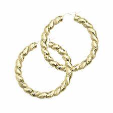 10K Yellow Gold Round Twisted Door Knocker Hoop Earrings - Women