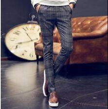 Korean Mens Plaid Pencil Pant Slim Fit Vintage Casual Formal Jogger Trousers New