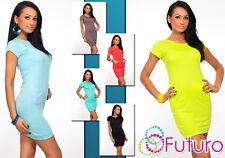 NEON Donna vestito con tasche Estate Colori Barca Collo Tunica Taglia 8-12 8477