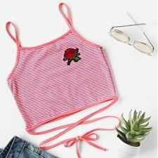 Women Sleeveless Crop Top Shirts Vest Halter Tank Blouse T-Shirt Cami LJ