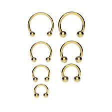 Anodized GOLD Horseshoe Bar - Lip Nose Septum Ear Ring Various Sizes available