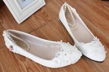 Escarpin éscarpins chaussures pour femmes ballerine blanc perles dentelle
