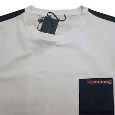 PRADA T-shirt  short sleeve white blue girocollo m/c cotoon stretch size xl xxl