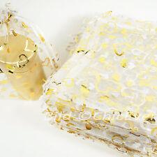Schmuckbeutel 16x22 Organza Beutel Geschenk Verpackung Säckchen herz weiss gold