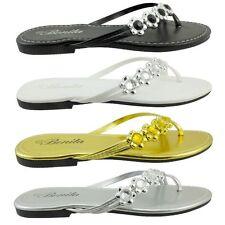 New Womens Gladiator Sandal Sparkling Sets Of Toe Flat Shoes Flip Flops VENUS-06