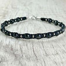 Bracelet Homme Femme Macramé Shamballa Obsidienne perles  - Lithothérapie
